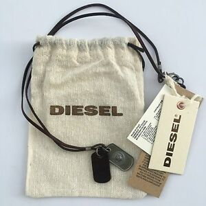 Diesel Mens Albino Brown Dog Tags Necklace + Case BNWT Leather 34 Jeans RRP £59
