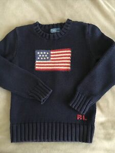Boys POLO BY RALPH LAUREN Jumper Navy Cotton Size 6 Age 5-6 Yrs