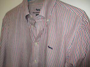 Beautiful Large Red, White & Blue Striped HARMONT & BLAINE 100% Cotton Shirt