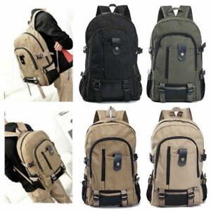 Men Canvas Large Backpack Rucksack Work Sports Travel Hiking Boys College  Bag