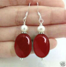 NATURAL RED OVAL RUBY & REAL WHITE CULTURED PEARL DANGLE EARRING SILVER HOOK