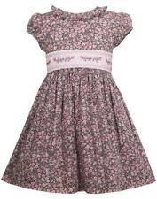 "NEW Bonnie Jean Girls ""PINK & BLACK FLORAL SMOCKED"" Size 4 Cotton Dress"
