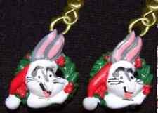 Funky BUGS BUNNY SANTA CAP EARRINGS Fun Holiday Christmas Wreath Costume Jewelry
