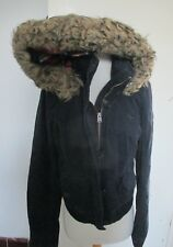 Abercrombie & Fitch Women Outerwear Navy Jacket with hoody Fur hat lining Size M