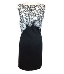 Beautiful COAST Black White Floral Fitted Ladies Day Wedding Guest Dress Uk 16
