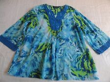 Jones New York Boho Blouse Misses L Blue Green 100% Cotton Tunic Lace Fringe