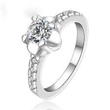 Liebes Ring Blume Zirkonia Farbe Silber Strass Verlobung Hochzeit  Gr. 18 381