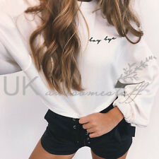 UK Womens Christmas Long Sleeve Jumper Top Ladies Cropped Sweater Size 6 - 14 White S