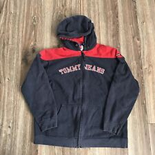 Vintage Tommy Hilfiger Spellout Blue Red Colorblock Hoodie Sz Youth XL
