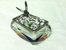 Vintage, Rectangular, Humming Bird, Iridescent Glass Crystal Trinket Box