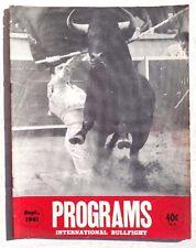 Vintage September 1961 Programs International Bullfight Bullfighting Magazine