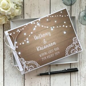 PERSONALISED WEDDING GUEST BOOK ~ RUSTIC WHITE VINTAGE WOOD LACE FESTOON LIGHTS