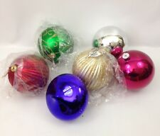 Lot of 6 Large Glass Christmas Ornaments/Decorations