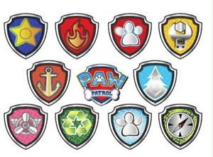 Paw Patrol SHIELD LOGO X 22 Birthday Cup Cake Toppers Edible Rice Wafer Card