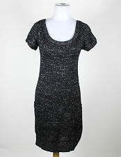 MISS ME COLLECTION black silver shortsleeve scoop neck shimmery sweater dress S