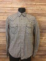 Tin Haul Pearl Snap Western Shirt Size Small Mens Gray Long Sleeve Cowboy top