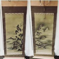 Pair Antique Japanese Hanging Scroll Paintings Kakejiku KANO YOSHIN Osanobu &Box