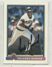 Orlando Merced signed autographed card 1991 Bowman