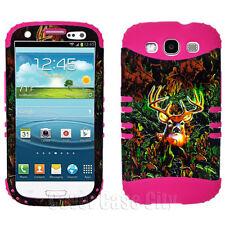 Buck Deer Camo Pink Soft Impact Hybrid Hard Cover Case Samsung Galaxy S 3 III S3