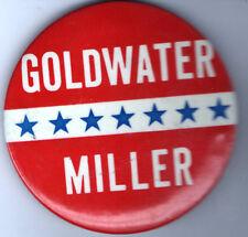 1964 pin  GOLDWATER Miller pinback button Names Logo rwb 3.5 inch Stars