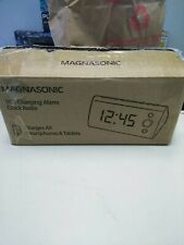 Magnasonic Usb Charging Alarm Clock Radio with Time Projection Battery Backup.