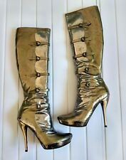 ALEXANDER MCQUEEN BOOTS RARE GOLD SILVER HIGH HEEL LEATHER US9 39 SIZE