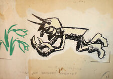 Vintage abstract surrealist caricature portrait ink painting signed