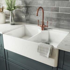 Double Butler Farmhouse Kitchen Sink White Gloss New Tap Hole