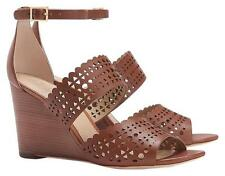 NEW TORY BURCH SZ 5 PERFORATED GLADIATOR WEDGE BROWN LEATHER SANDAL