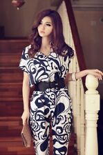 Large size China pattern  color come with belt chiffon fashion jumpsuit Rompers