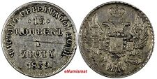 POLAND RUSSIA Nicholas I Silver 1839 MW 1 Zloty 15 Kopecks SMALL CROWN C# 129