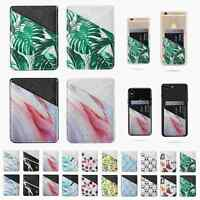 Adhesive PU Leather Credit Card Pocket Sticker Pouch Holder Case For Cell Phone