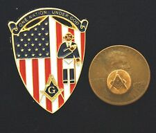 Shield Shaped Masonic Pin With Flag Design, Mason and Masonic Emblem PHA