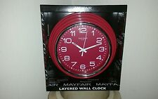 Retro look Mayfair & Co white and red Layered battery electric Wall Clock