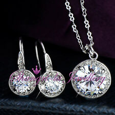 18K White GOLD GF Womens Wedding NECKLACE SET With SWAROVSKI DIAMOND L348-S