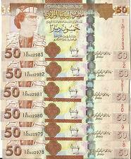 2008 Libya Libyan Lot of 6 Consecutive 50 Dinar Banknote P 75 Qaddafi Rare  (XF)