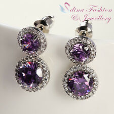 18K White Gold Plated Cubic Zirconia Double Halo Round Cut Purple Stud Earrings
