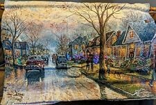 """Thomas Kinkade """"Hometown Christmas"""" LED Woven Tapestry with Wooden Pole"""