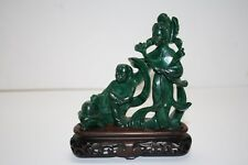 Chinese Carved Malachite Figure Statue Kwan-yin on Wood Stand