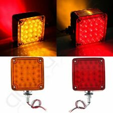 2 Pcs 39LED Amber/Red Double Face Stud Mount Fender Stop Turn Signal Tail Light