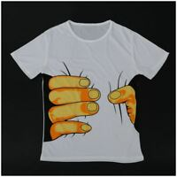Baumwolle lustiges Hand Greifen bedrucktes T-Shirt - Groesse L O3Y8 BS