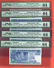 5X 1987 Singapore Ship Replacement $1 note .Rare Z2 PMG 64 consecutive