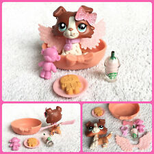 Authentic Littlest Pet Shop Rust Red COLLIE DOG #1542 Blue Eyes Collar