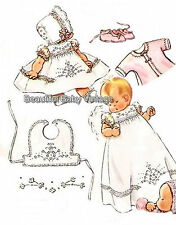 Vintage Baby SEWING PATTERN 1950s Dress Jacket Bonnet Bootee Bib 6 Months COPY