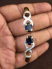Classy 4.32 Cts Round Brilliant Cut Diamonds Sapphire Cuff Bracelet In 14K Gold