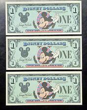 {BJSTAMPS} 1987 Disney Dollars $1 MICKEY Castle A1310009, 1310010,1310011
