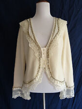 Chadwick's Boho Festival Wool Angora Victorian Lace Bead Embroidered Sweater