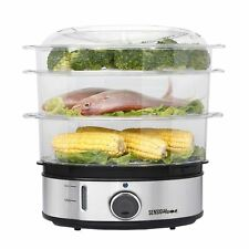 Sensio Home Stainless Steel 3 Tier Food Rice Meat Fish Veg Egg Electric Steamer