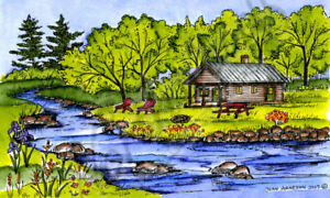 Cabin By Stream The Woods Scene Wood Mounted Rubber Stamp NORTHWOODS NN10258 New
