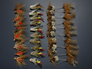 40Pcs Grasshopper Dry Flies Terrestrial fly Trout Fly Fishing Lures H036